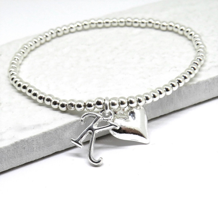 Personalised  initial bracelet design with a chunky heart on stretch elastic,  a unique gift for a birthday Christmas, Valentines gift or for Mother's day.