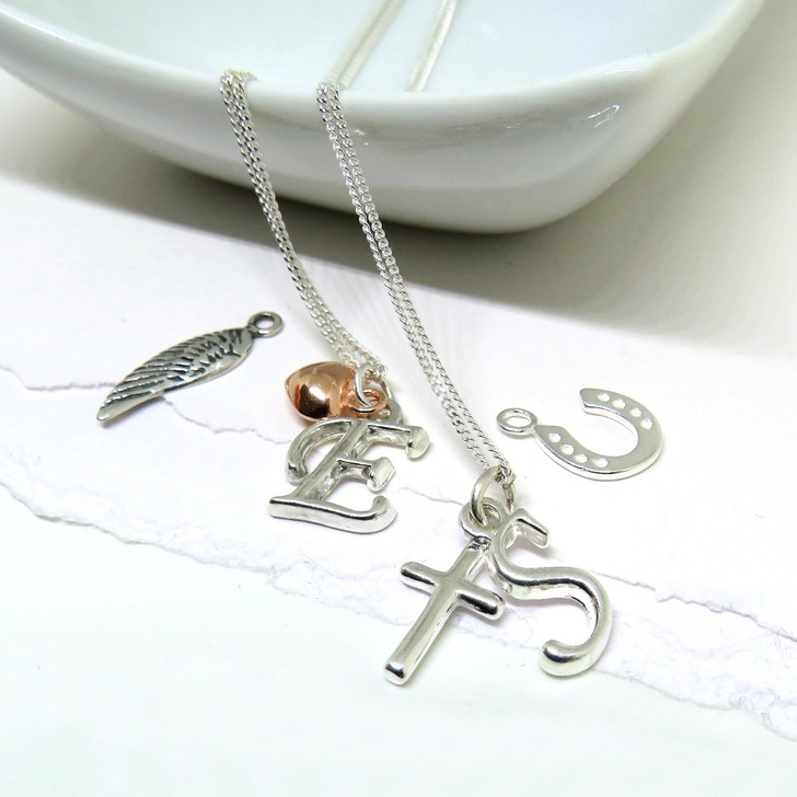 Initial charm sterling silver necklace and charm- teddy,cross,angel wing,feather,horseshoe,key or rose gold heart gift for a women or a girl under £25