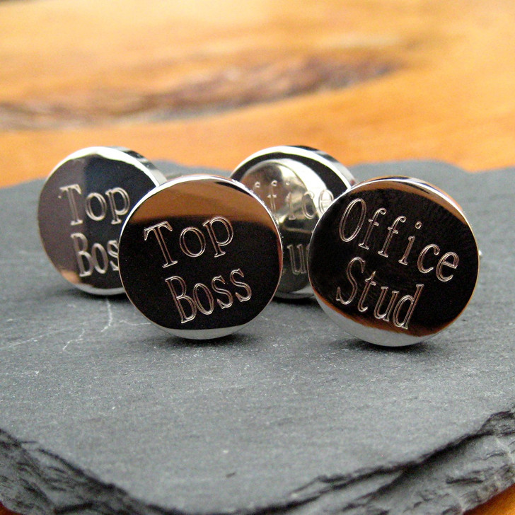 Funny personalised cufflinks are made from quality silver-plating & make a great leaving gift, a fun secret Santa gift from men or a thank you men's teacher gift the choice is yours as they come with your choice of engraving.