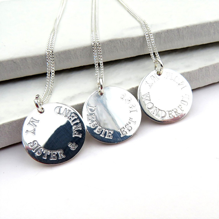 engraved sterling silver round disc necklace under £25 handmade in the UK personalised for a girls birthday gift,Christmas gift for her or a special gift for a teacher.