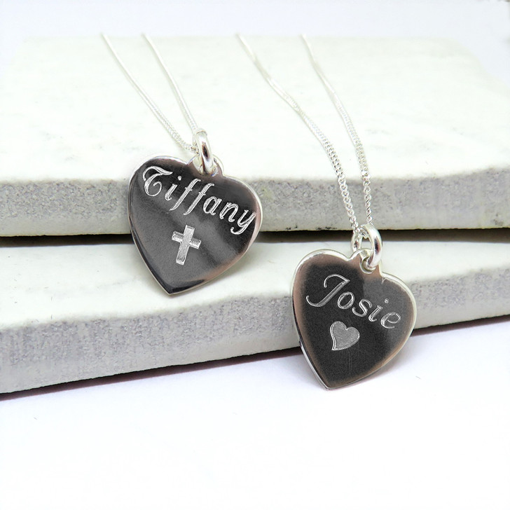 Personalised cross or heart symbol sterling silver necklace is a lovely gift a girls or womens 16th,18th , 21st birthday, Valetines, Mothers Day, Christening, Holy communion or bridesmaids.
