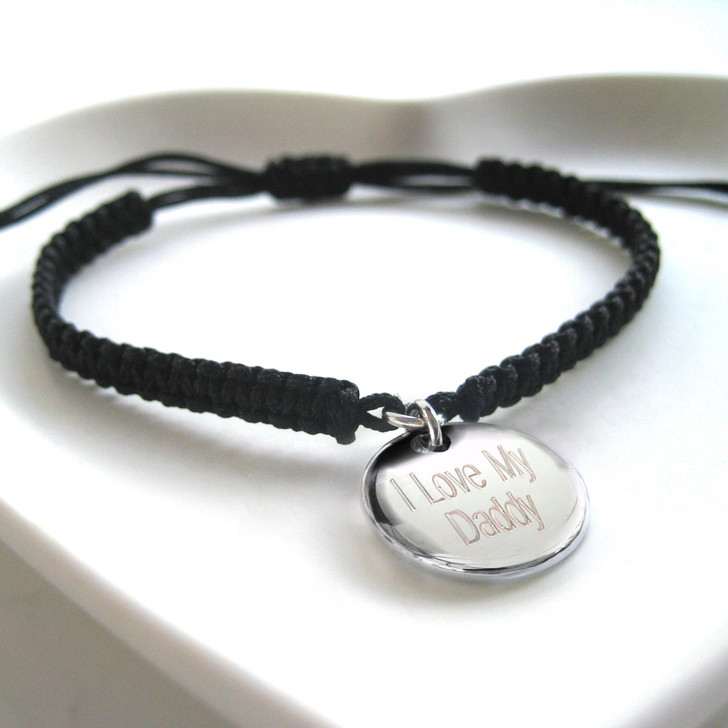 Mens personalised cord friendship bracelet a very popular with men & teenage boys. A unique gift for his birthday or fathers day for a special Dad or Grandpa.