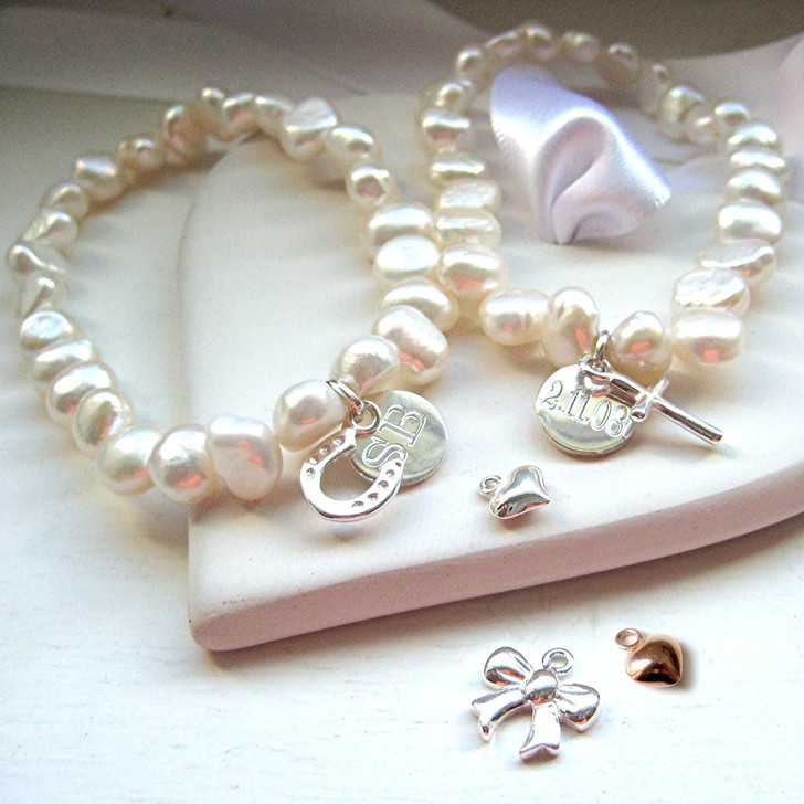Personalised pearl stacking bracelet - present for bridesmaids & special occasion so if your buying a gift for a women or teenage girl on her birthday Christmas, Valentines gift or for Mother's day this design will make them feel very special as it is handmade especially for them.