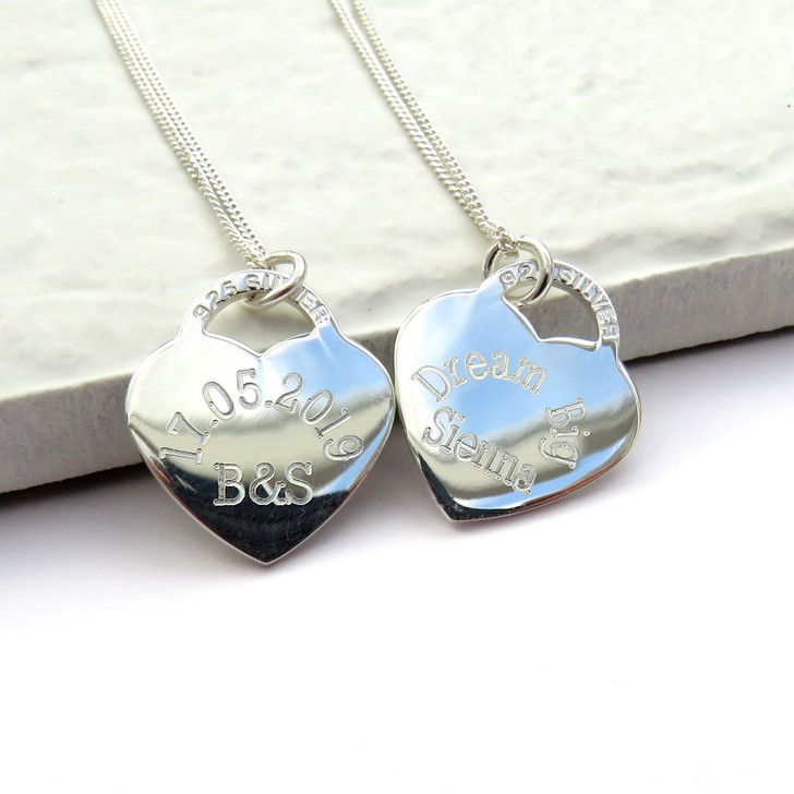 Personalised sterling silver heart charm necklace with engraved message a wonderful gift on a special occasion, such as a birthday or Anniversary & gifts for bridesmaids too.