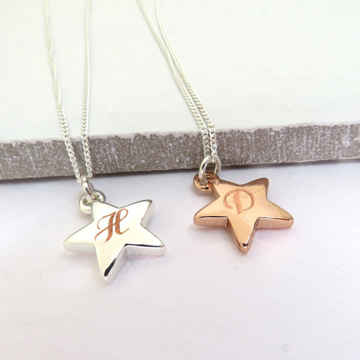 Engraved star necklace is personalised making it perfect for a graduation,a unique gift for a teacher or for a special girls birthday gift. silver plated or rose gold.