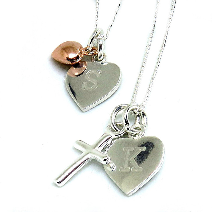 Small sterling silver heart pendant necklace engraved and comes with a choice of charm - tiny sterling silver heart,cross, cute teddy or a rose gold plated heart. Under £25
