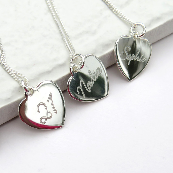 Engraved sterling silver pendant heart necklace personalised with script handwriting a great gift for an aunty, girl,mum,gran or sisters birthday or under £20