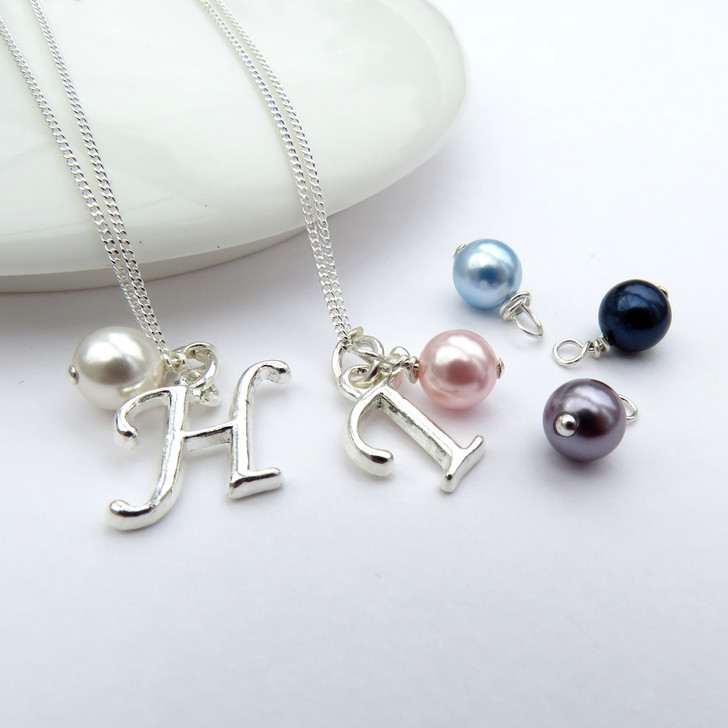 Personalised Initial Necklace with Swarovski pearl for a special anniversary gift, birthday or a gift for an special friend.