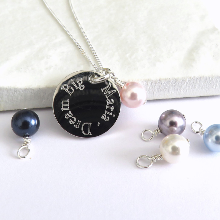 Personalised Edge Engraved Necklace & Swarovski Pearl with children names, date of a 16th 18th or 21st birthday or a gift for a bridesmaid to say thank you. Handmade in the UK
