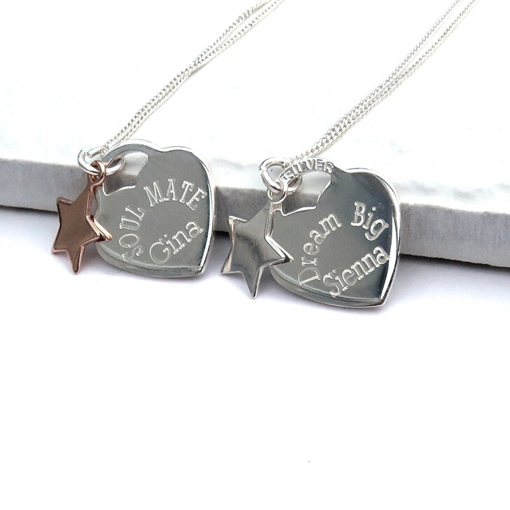 Unicorn Necklace Charm Initial Personalised Rose Gold Gift