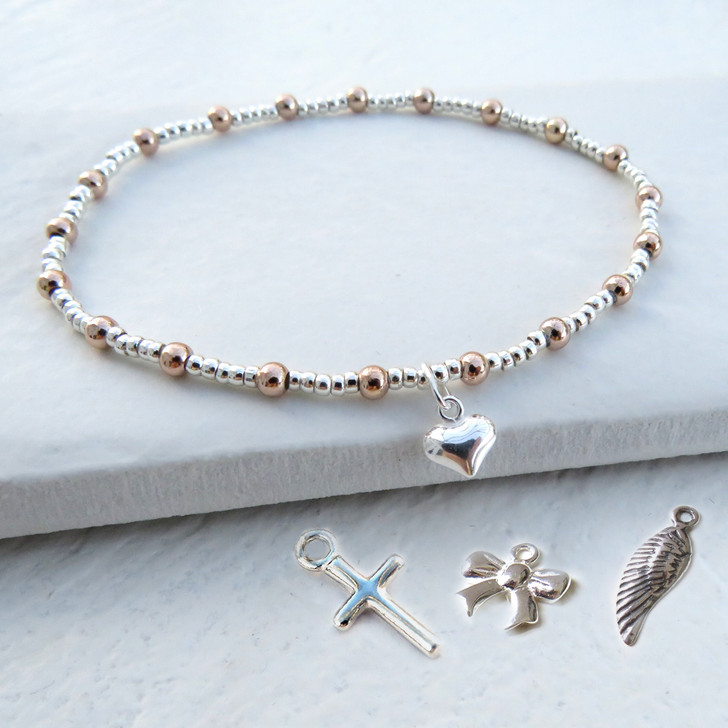 Silver & rose gold heart charm stacking bracelet a great gift for a women or girl for their birthday, bridesmaids gift, graduation, Valentines, Teachers Gift or Mother's day.