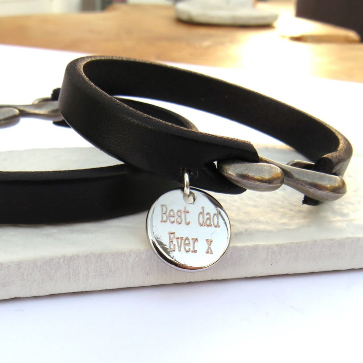 Personalised mens black leather strap bracelet with a chunky alloy clasp. These are a great gift for a trendy man whether it's his birthday, Father's day.
