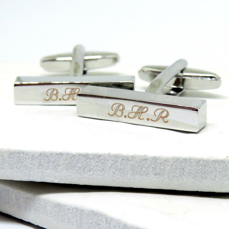 Personalised thin rectangular cufflinks silver coloured engraved for you making these a great gift for a man on his birthday,Christmas or for a best man or Ushers.