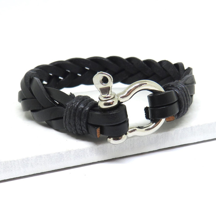 Men's black leather wrap bracelet. These make great gifts for a trendy man whether it's his 18th, 21st or 40th birthday, Father's day, Valentines or Christmas.