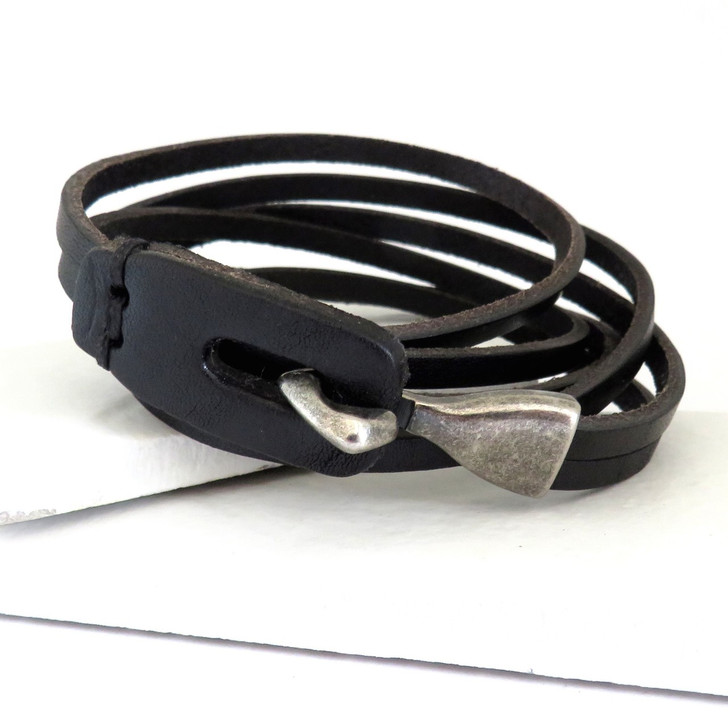 Men's black leather wrap bracelet for an man or teenage boy and is ideal gift for an 18th, 21st or 40th birthday, Father's day, Valentines or even Christmas.