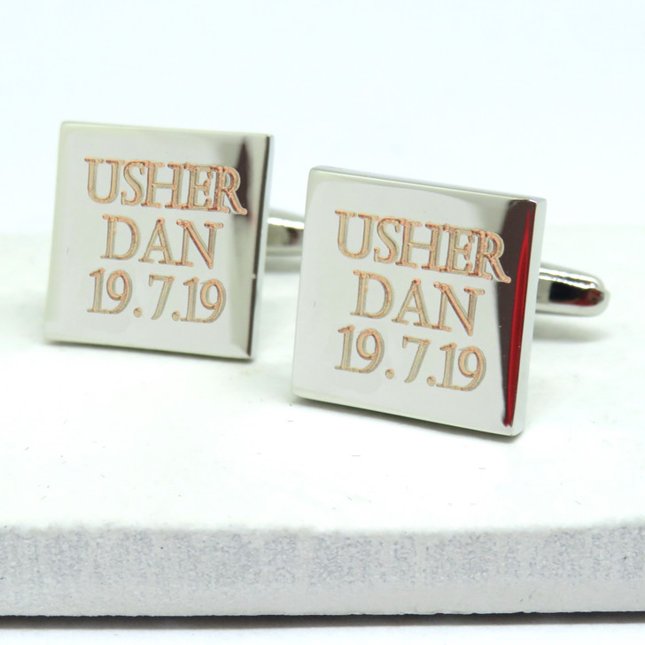 Personalised silver cufflinks a great gift for Ushers under £20 made in the UK. Silver coloured rhodium plated.