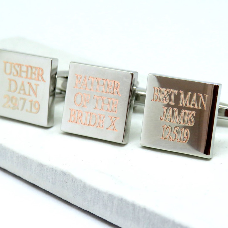 Personalised square silver wedding cufflinks for the Best Man, Groom, father of the Bride & Ushers. Handmade in the UK under £20 trade dropshipping ayedo.co.uk