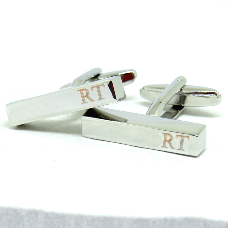 Personalised Modern Bar Cufflinks our thin rectangular cufflinks making these a great gift for a man on his birthday, Christmas or as a gift for a best man or Ushers.