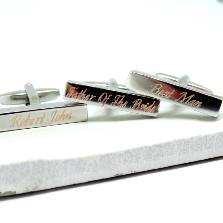 Personalised Modern Wedding Cufflinks - Our thin rectangular cufflinks are rhodium plated with your choice of engraving, a great gift for the best man, Ushers or Father of the Bride or Groom.