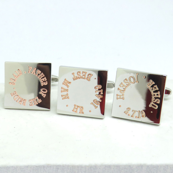 Personalised square wedding cufflinks engraved for the best man,Ushers,Groom or the Father of the Bride & Groom. UK handmade under £20