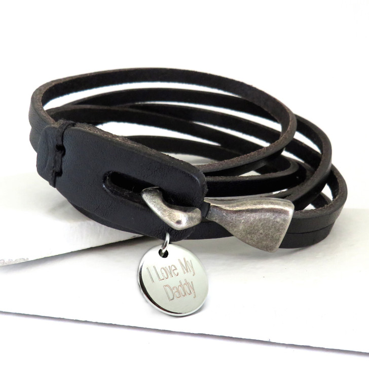 Personalised men's black leather wrap bracelet for a man or teenage boy for an 18th, 21st or 40th birthday, Father's day, Valentines or even Christmas.