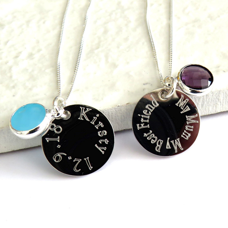 Engraved sterling silver necklace with silver plated disc & coloured birthstone the perfect gift for an 18th birthday, Anniversary gift or Christmas.