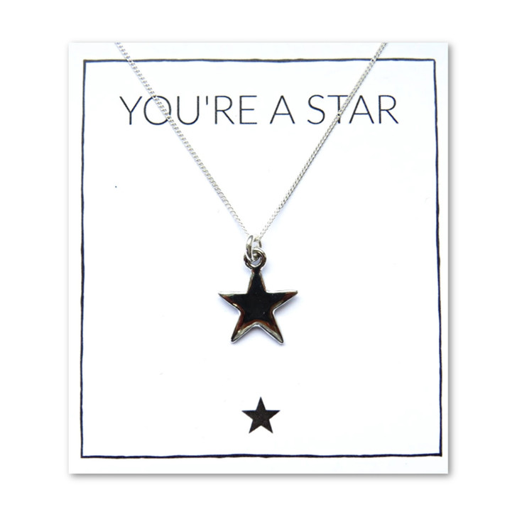 Star necklace comes with a lovely little 15mm star that is plated with sterling silver  and comes on a message card .