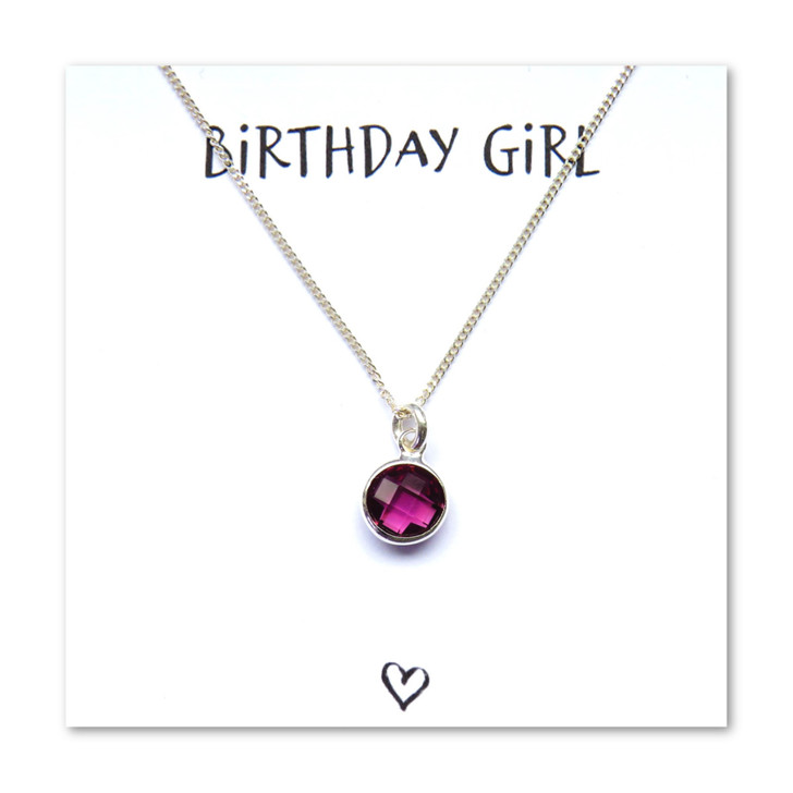 Birthstone charm necklace with a message card under £15 made in the UK a perfect gift for a girl or women's birthday.