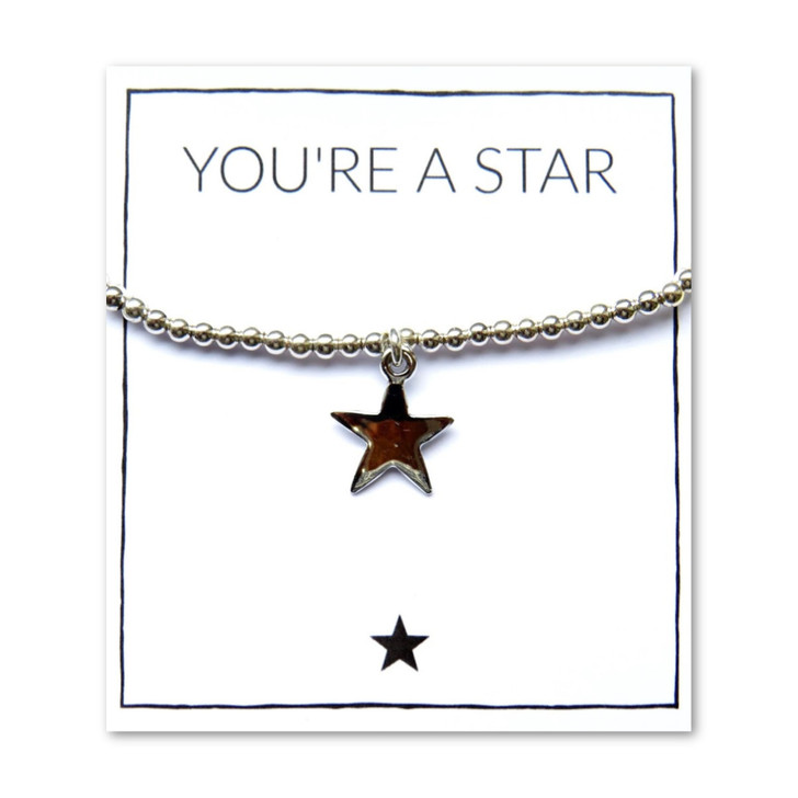 Silver star charm beaded bracelet with a message gift card a great gift for women or girls to say thank you to your best friend, bridesmaid, sisters,mum or teachers.