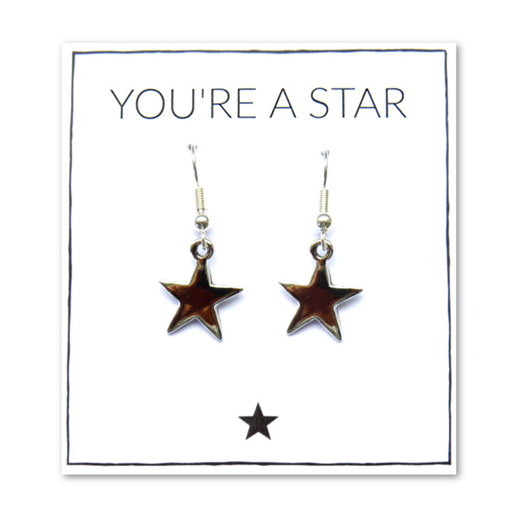 Silver star earrings on message card why not send a thank you gift to your best friend for being there, a gift for her passing her exams or driving test, or just because, this gift will make her smile. This is a very popular gift for women & girls and also makes an ideal bridesmaid, sister or thank you teachers gift.