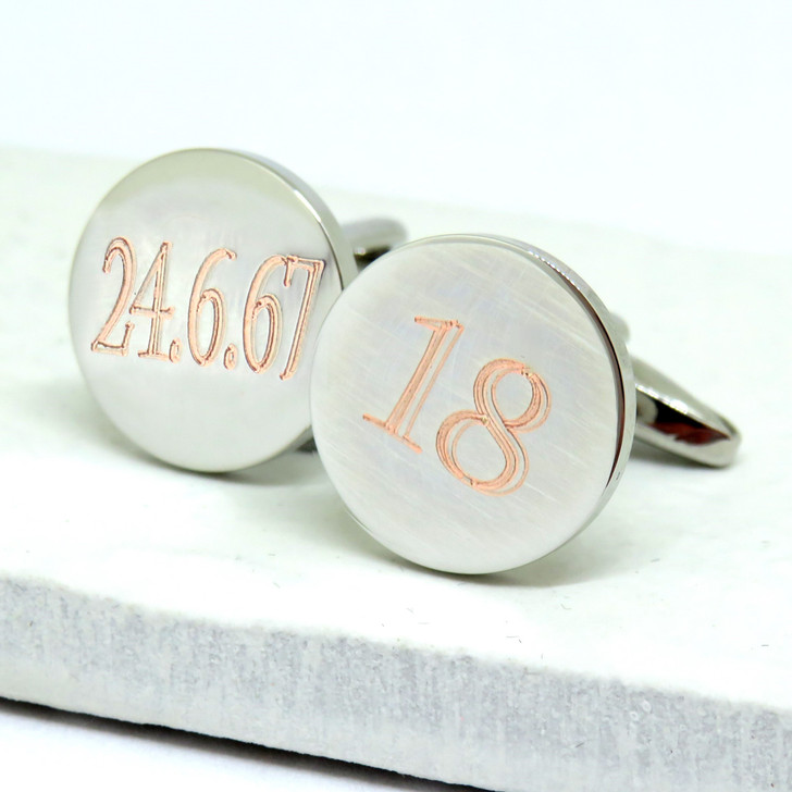 Personalised 18th birthday and date round silver cufflinks engraved in the UK under £20