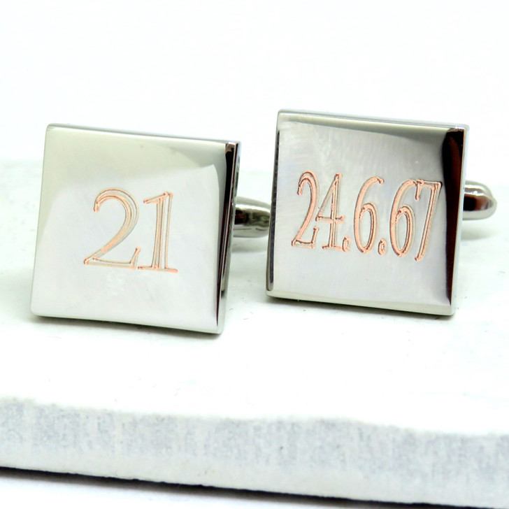 personalised birthday number and date square cuff links engraved 18th 21st 16th 30th 40th 50th anniversary gift in silver colour UK ayedogifts under £20