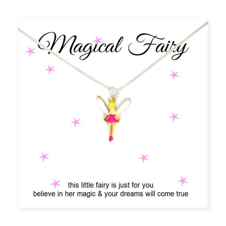 Fairy Girls Necklace on Message Card UK under £15 made in the UK a perfect gift for a girl birthday. Sterling silver chain.