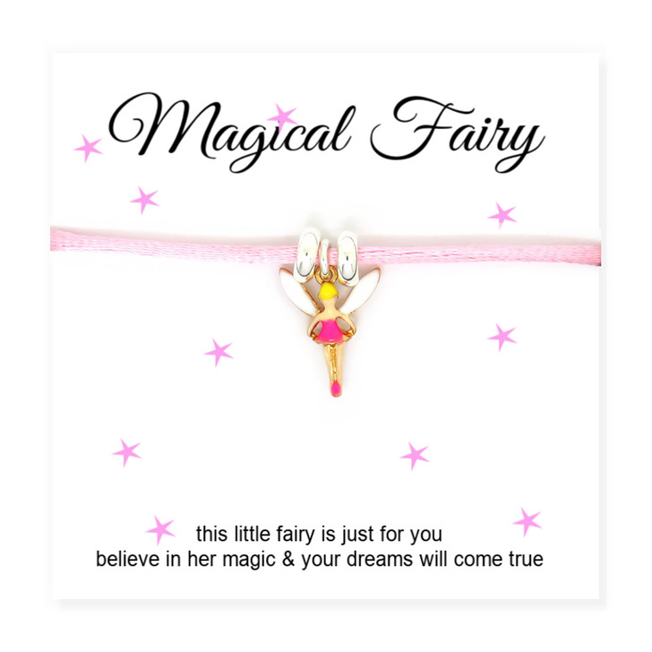 Fairy Girls Cord Friendship Bracelet on Message Card UK under £15 made in the UK a perfect young gift for a girl birthday.