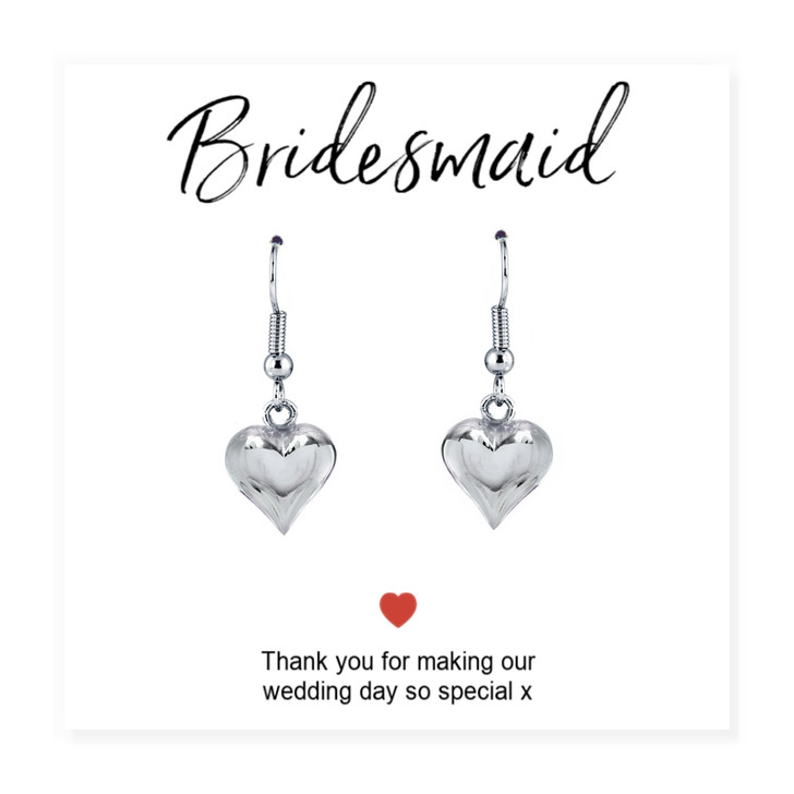 """Bridesmaid earrings are a lovely gift for your special maids  on a message card with the words """"thank you for making our wedding day so special"""""""