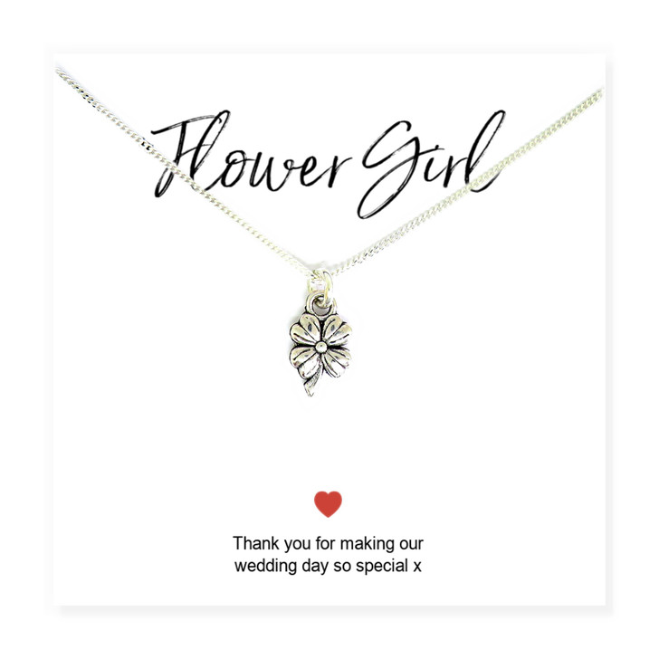 Flower Girls Flower Necklace & Thank You Card UK handmade on message card  sterling silver chain.