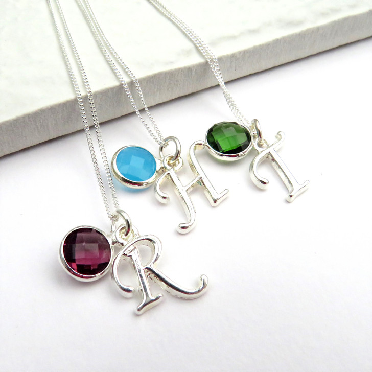Personalised initial and birthstone necklace on a sterling silver chain, birthday gift for her or for your bridesmaids.