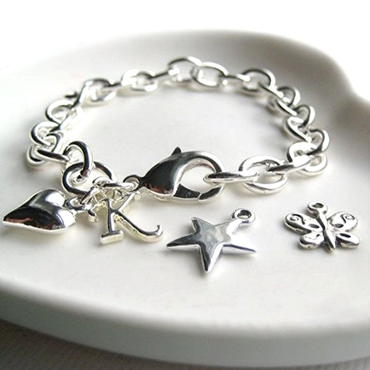 Personalised silver link chain bracelet with your choice of  charm & initial,gift for a bridesmaid ,women & teenage girls birthday, Christmas or a well done.