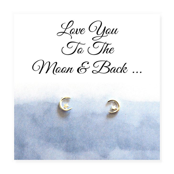 Moon and star sterling silver earrings with a lovely Love You To The Moon & Back message card. Perfect for a daughter, sister, mum, gran, gran daughter, niece or for a special friends birthday or as a Christmas gift.