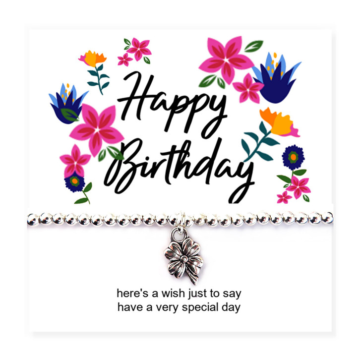 Happy birthday flower stretch beaded bracelet with a flower message card. A lovely gifts for a little girl, teenage girl or women on her birthday.