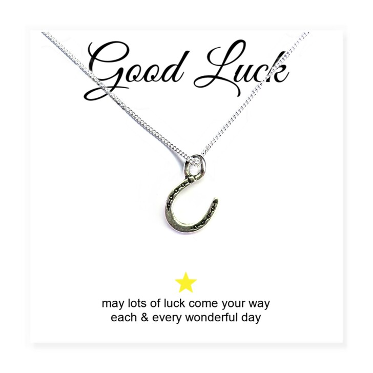 Horseshoe charm necklace gift for  a bridesmaid to give to the bride or for a friend studying for their graduation, school exams, driving test or for a new mum at a baby shower on a message card