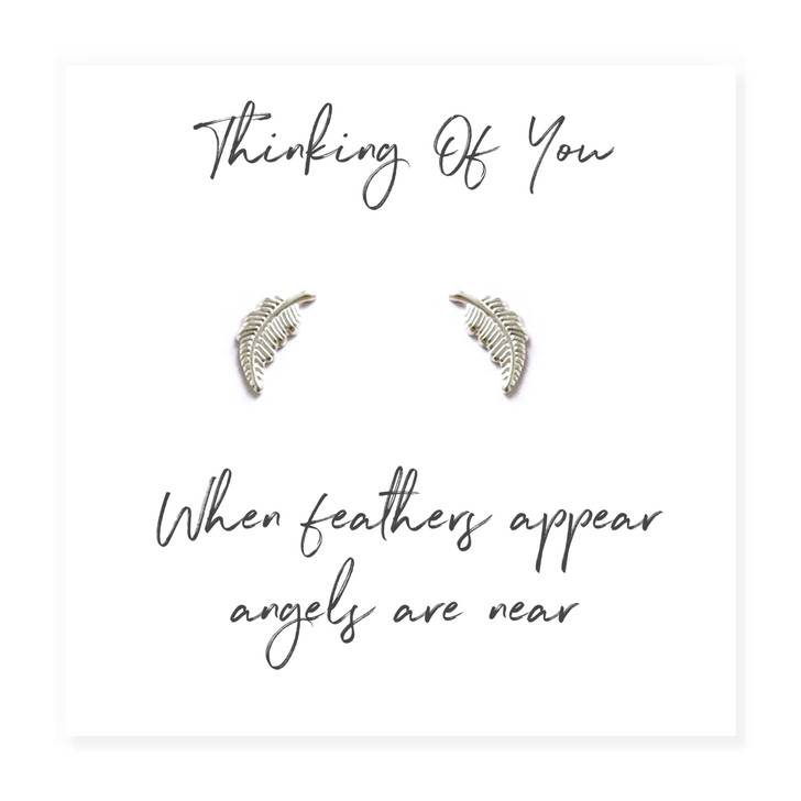 """These pretty little sterling silver feather earrings are a touching memorial keepsake, they come with a little message card with the words """" Thinking of you, When Feathers Appear, Angels Are Near"""""""