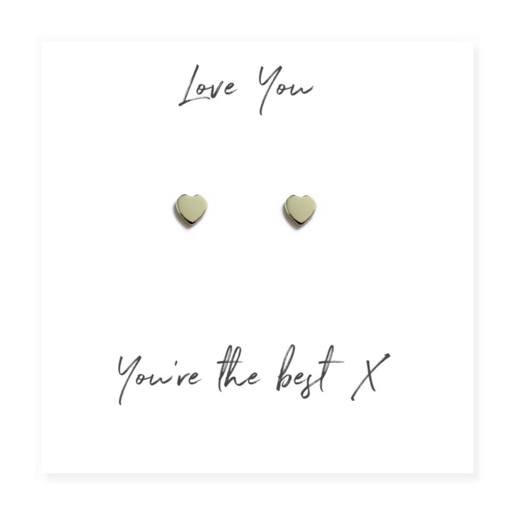 "Cute sterling silver heart earrings come with a lovely little message card with the words ""Love you, you're the best"".wholesale trade, drop ship jewellery UK"