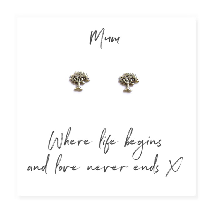 Family tree sterling silver earrings are a lovely card gift for your mum on her birthday, Mothers Day Christmas or just to say I love you. .wholesale trade, drop ship jewellery UK