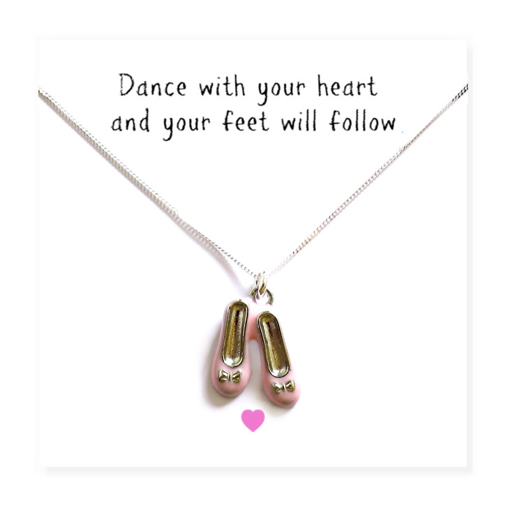 Girls sterling silver necklace comes with a cute pair of pink enamel ballet shoes presented on a message card drop ship UK trade wholesale.
