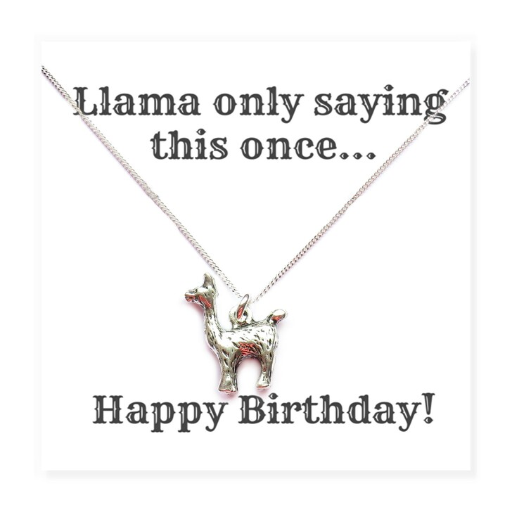 """Llama charm necklace comes with a funny message card that says """"Llama only saying this once, Happy Birthday!"""" Trade drop ship jewellery UK"""
