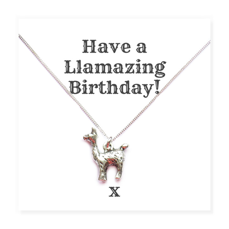 "llama charm necklace comes with a funny message card saying ""Have a llamazing birthday!"" this is fun gift is great to give a friend, sister, mum or auntie. Trade jewellery crads wholesale drop shipping UK"