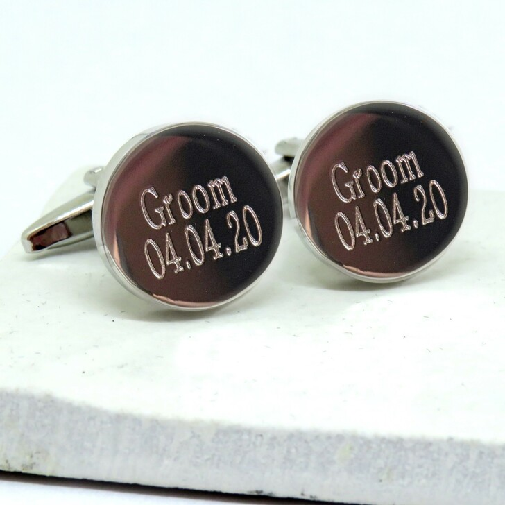 Personalised round cufflinks for the groom UK trade drop shipping trade  ayedo.co.uk