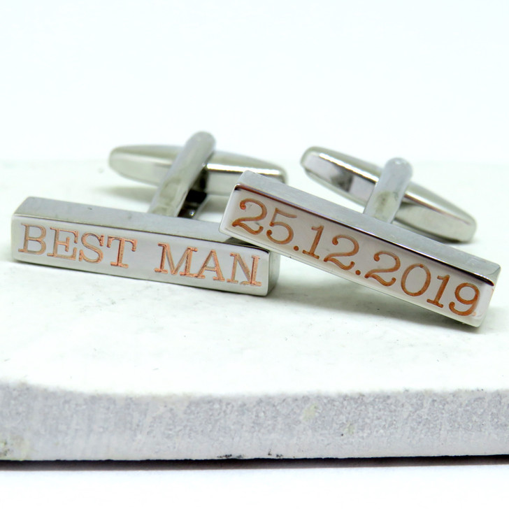 Personalised Clarendon Bar Cufflinks - Wedding dropshipping trade UK ayedo.co.uk