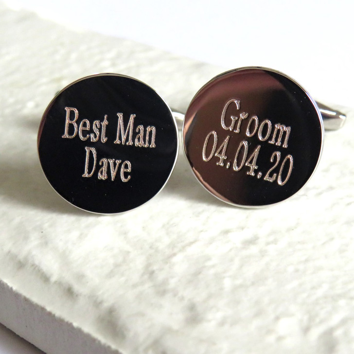 Personalised round wedding Cufflinks UK trade dropshipping wholesale